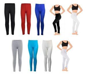 Girls Plain Stretch Leggings UK Made Viscose Elastane Children Kids Dance 1-13yr