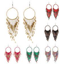 Fashion Women's Bohemia Tassel Beads Earrings Ear Stud Drop Dangle Jewelry
