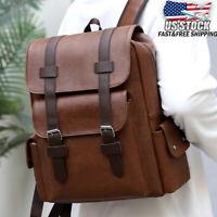Men Leather Backpack Shoulder Bag Weekender Travel School Laptop Rucksack Tote