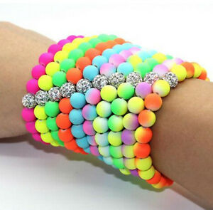 Neon shamballa Resin Bangle Stretch  Elastic Bracelet Choice Of Colours