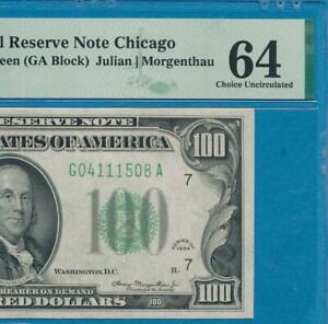 $100. 1934  CHICAGO  DISTRICT  FRN DARK GREEN SEAL CERTIFIED  PMG CH. NEW 64
