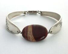 "Queen Bess spoon bracelet burgundy Jasper stone vintage silverware 7.75"" large"