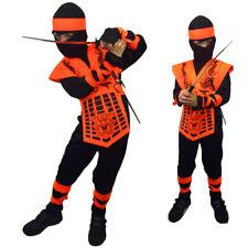 BOYS NEON ORANGE POWER DRAGON NINJA COSTUME KIDS CHILD RANGER FANCY DRESS SAMURA