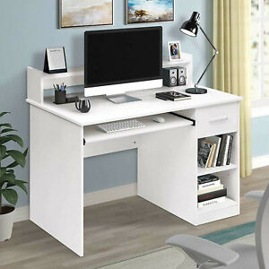 White Computer Desk Laptop Student Study Writing Table Workstation Storage Shelf