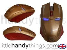 Iron Man Marvel Avengers Oro Óptico Inalámbrico Usb Para Pc Y Mac Gaming Mouse