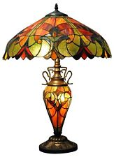 Double Tiffany Lamp Electric Light Red Orange Design Home Lighting Decor 68cm