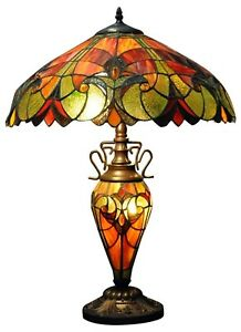 Red & Orange Double Tiffany Lamp 68cm Multi Bulbs Home Light Lighting Decor