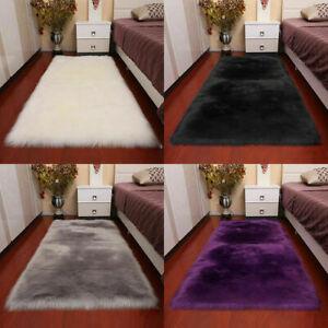 Soft Square Faux Sheepskin Rug Fluffy Plush Carpet Living Bed Room Non Slip Mat