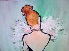 Ölgemälde auf Leinwand, Frau mit Blumen