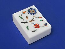 Marble white Jwellery Box Semi Precious Stone Handicraft lapis Inlay Work gift