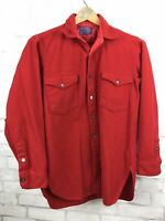 Vintage Mens Red Pendleton Wool Western Ranch Wear Button Down Shirt Size 16