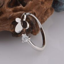 925 STERLING SILVER PLATED BUTTERFLY AND HEART LOVE  ADJUSTABLE  FINGER RING