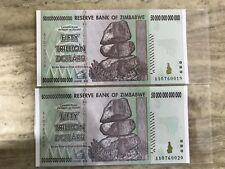 2 x Zimbabwe 50 Trillion Dollar Notes AA/2008 UNC Consecutive Numbers *BARGAIN*