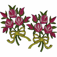 Pair of Bouquet Flowers Patches Iron Sew On Embroidered Patch Badge Pink Roses