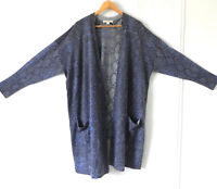 Sejour Sweater Open Duster Multi-Color Wool Blend Light Weight Pockets Size 2XL