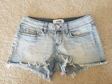 Pink Victoria Secret Distressed Cutoff Denim Shorts Light Wash Sz 0