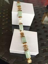 Jade bracelet 9 carat Yellow gold Hallmarked Real Chinese Jade