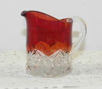 ANTIQUE Ruby Red Flashed EAPG Souvenir Glass Creamer WYOMING Ont CANADA