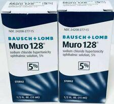 (2) NEW Bausch & Lomb Muro 128 5% Solution 1/2 fl oz 15ml Exp. 2021+