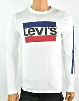 Levi's Mens White T-shirt 2XL New Long Sleeve Crew Neck Blue Red Logo Tee