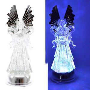 "14.75"" Light Up Angel Swirling Figures Glitter Christmas Decoration Nativity Set"