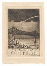 ERICH F. HÜBNER: Exlibris für Fritz Kassel, Brücke unterm Regenbogen, 1911