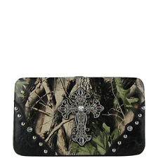 BLACK MOSSY CAMO CROSS LOOK FLAT THICK WALLET COUNTRY WESTERN BLING BIFOLD NEW