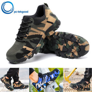 Men's Safety Work Shoes Breathable Outdoor Camouflage Boots Steel Toe Sneakers