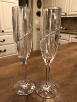 "Set of 2 - Mikasa Crystal Uptown 9.25"" Champagne Flutes Excellent"
