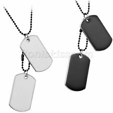 Alloy Military Style Double Dog Tags Pendant Bead Chain Necklace For Men's Gift