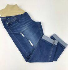 a826bbb9fc732 Wash: Dark. Planet Motherhood Maternity Capri Jeans Womens Size Lg  Distressed Bling Pockets