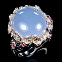 Unique Fine Art Natural Chalcedony 925 Sterling Silver Ring Size 6.5/R123844