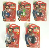 Lot of 5 Super Mario Bros Complete Set Figure On Card 2007 Popco Nintendo Corgi