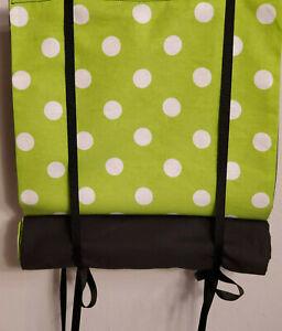 Classroom Door Curtain Lime Polka Dot Roll Up or Tie Up Handmade School Drill