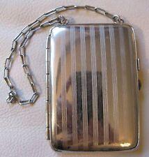 Antique Art Deco Pinstripe Silver P Card Case Coin Holder Dance Purse Compact