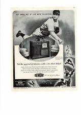 VINTAGE 1947 DU MONT TELESET TV NEW YORK YANKEES BASEBALL WABD BOXING AD PRINT