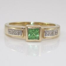 14K Yellow Gold Natural Diamond Green Emerald Ring Size 7.25