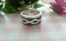 Beautiful Rhombus Heavy Band Ring Solid Real Sterling Silver 925 Size 7 1/2 *I54