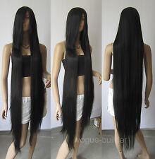 130cm 51'' Long Black Heat-resistant fiber Straight Cosplay Hair Wig