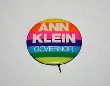 NJ 1973 Ann Klein for Governor Rainbow Campaign Political Pin Button New NOS