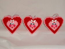 HAPPY HEARTS SQUEEZUMS - HANDMADE PLASTIC CANVAS VALENTINES - SET OF 3