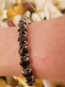 Evening Tennis bracelet for Mother Swarovski Crystal Onyx Gem present 8mm Hnmade