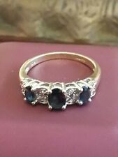 VINTAGE USED SOLID 9CT  YELLOW GOLD GENUINE SAPPHIRE AND DIAMOND RING SIZE P