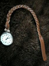 Custom Length, Leather Pocket Watch Strap, Fob, Chain. Soft leather (brown)