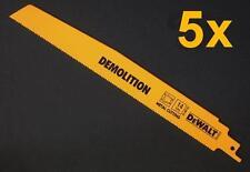 "5 x DEWALT DW4868 DEMOLITION METAL CUT RECIPROCATING SAW BLADES 230mm 9""  14tpi"