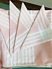 "Vintage in Box STOFFELS Switzerland 38"" X 37"" Tablecloth & Napkin Set Pink White"