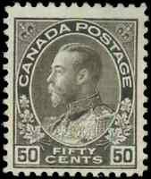 Canada #120 mint F-VF OG H 1925 King George V 50c black brown Admiral Dry Print