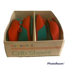 2 Prs NEW NOS Vtg Gymboree 1990 Size 0 Baby Shoes Red Green Black Box 0-3 Months