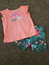 Toddler girl Outfit Size 18 Months, Neon Orange Shirt, Rainbow, Tropical Shorts