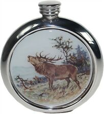 Pewter 6oz Round Hip Flask with Stag Picture Perfect gift for the Hunter!